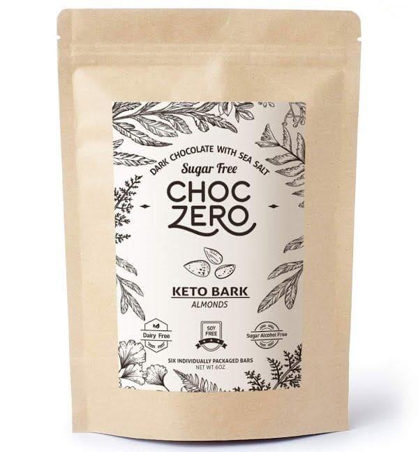 ChocZero Keto Bark Almendras de chocolate negro con sal marina