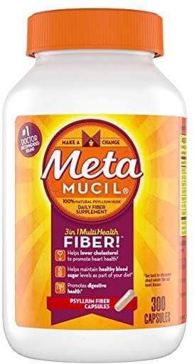 Cápsulas de suplemento de fibra de psyllium multi-salud de Metamucil