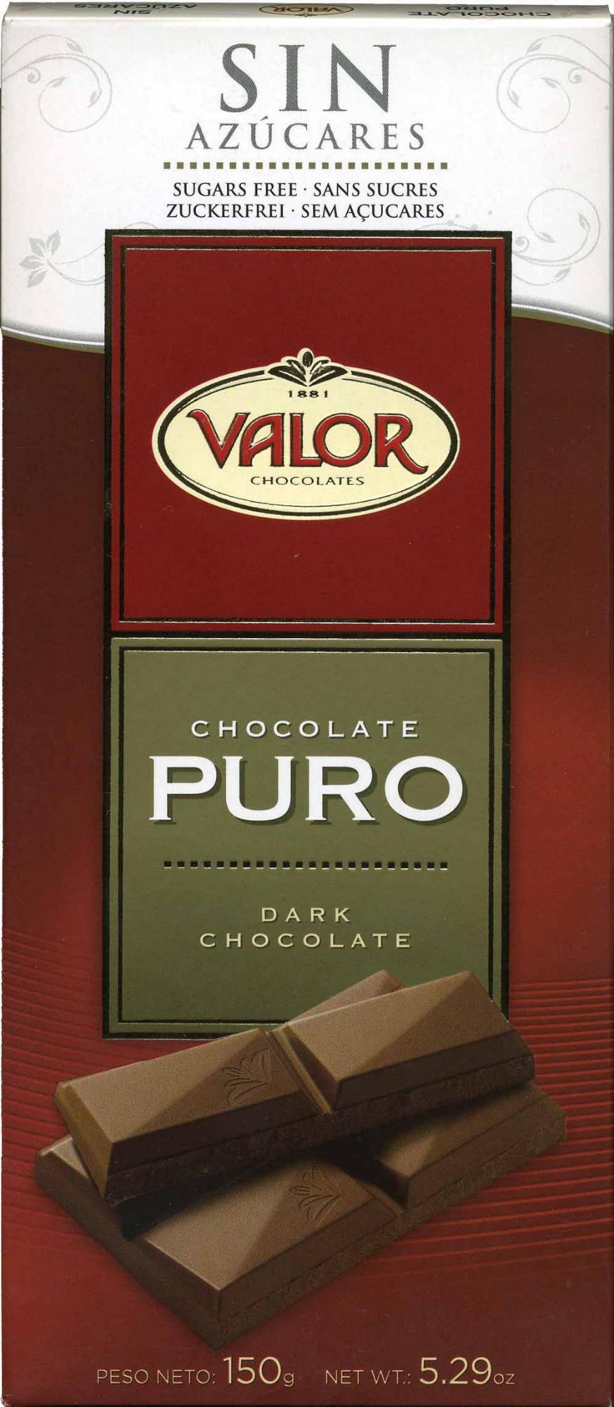 chocolate con 0% de azúcares añadidos Valor