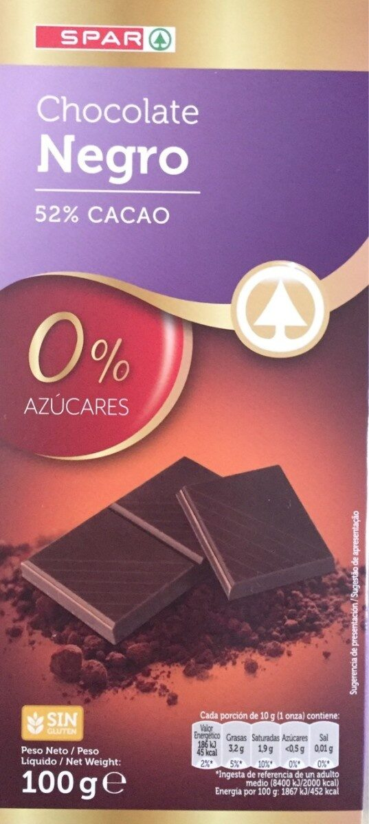 chocolate negro 52% Spar