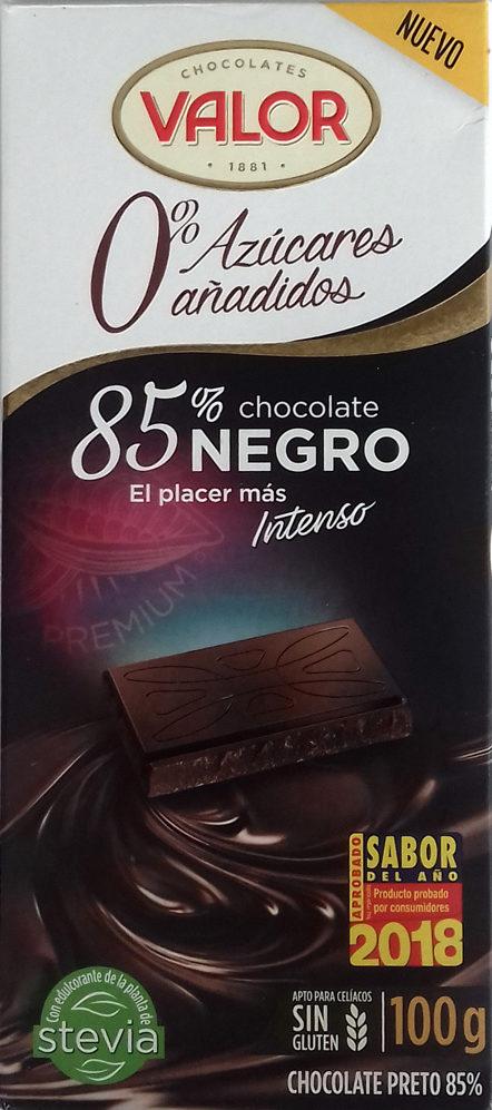 chocolate negro 85% con 0% de azúcares añadidos Valor