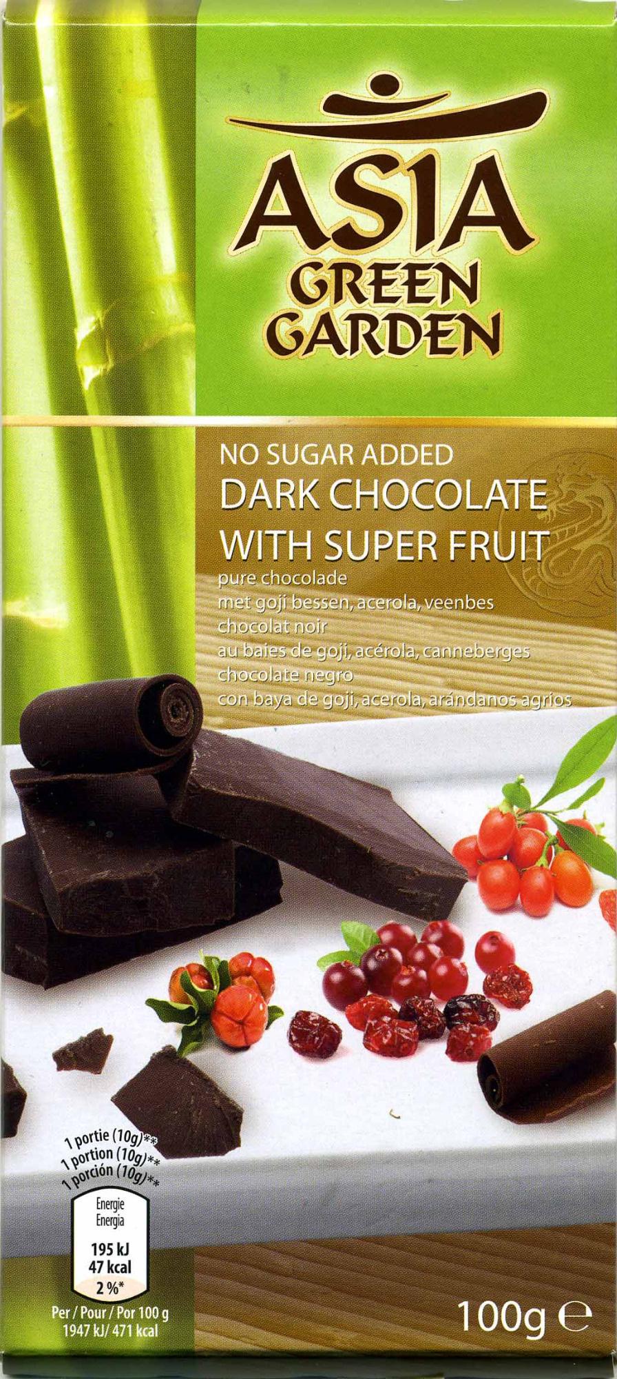 chocolate negro con edulcorantes y frutas 54% cacao Asia Green Garden
