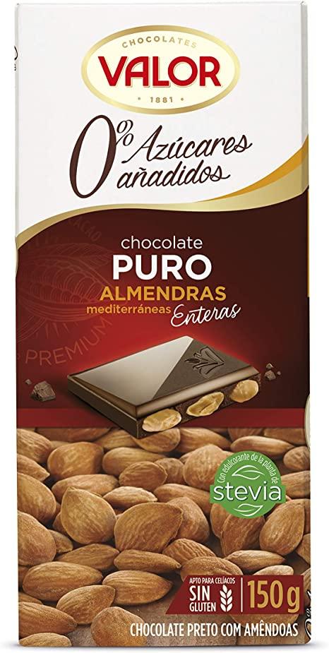 chocolate puro con almendras mediterraneas enteras Valor