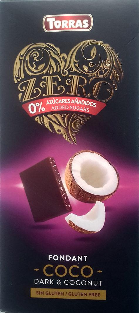 chocolate zero fondant con coco 0% azúcares añadidos Torras