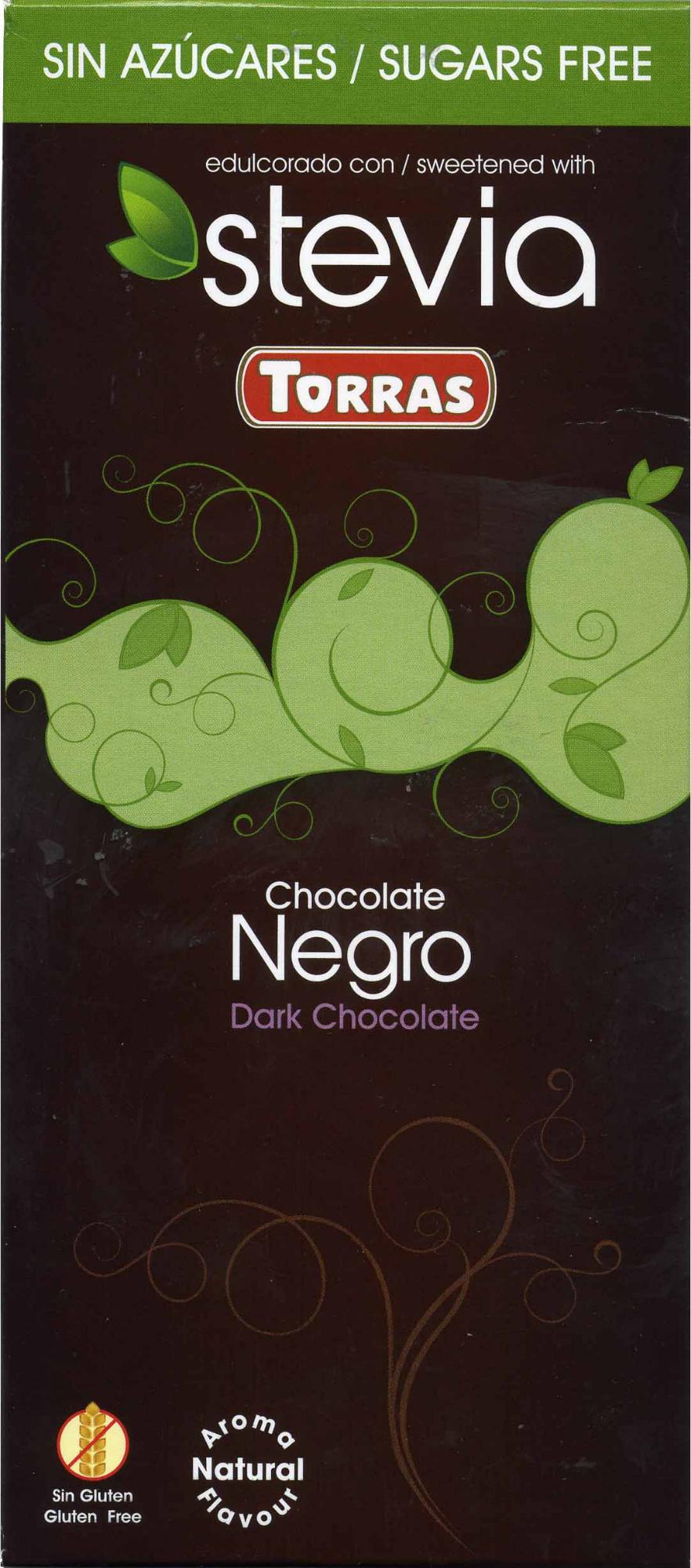 chocolate negro edulcorado con estevia 60% cacao Torras