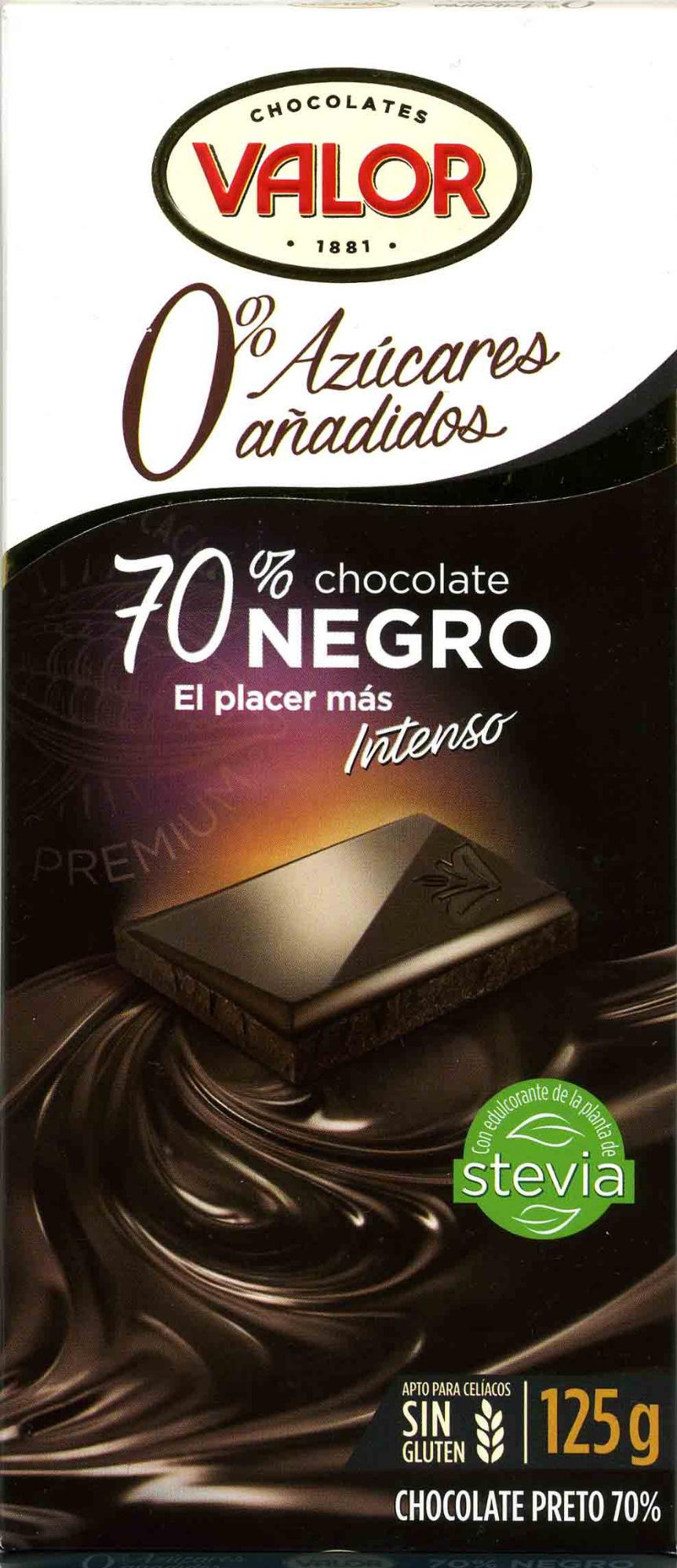 chocolate negro sin azúcares añadidos 70% cacao Valor
