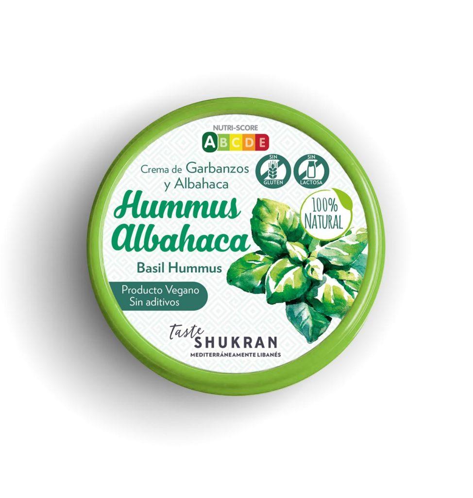 hummus de albahaca 100% natural Taste Shukran