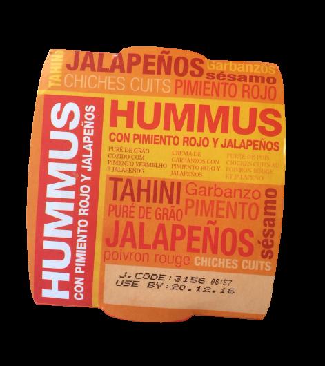 hummus con pimiento rojo y jalapeños Orexis
