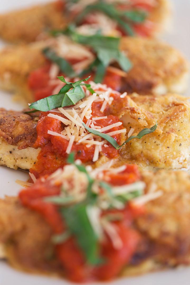 pollo crujiente con costra de parmesano